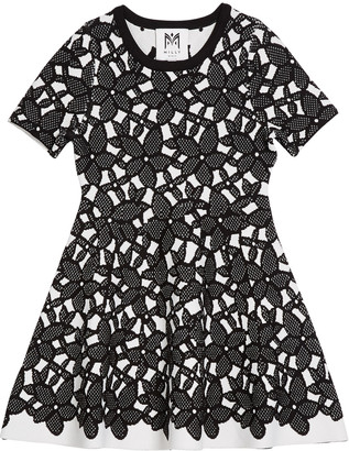 Milly Floral-Mesh Jacquard Short-Sleeve Dress, Size 4-6