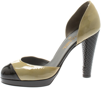 Chanel Olive Green And Black Patent