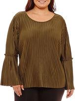 Boutique + + Long Sleeve Pleated Blouse-Plus