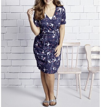 Ulla Popken Floral Print Cotton Wrapover Dress with Short Sleeves