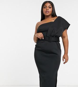 ASOS DESIGN Curve one shoulder belted midi dress in black