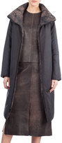 Akris Martina Reversible Quilted Coat, Sepia