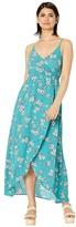 BB Dakota Cherry Blossom Printed Bubble Crepe Tie Front Wrap Dress (Bright Slate) Women's Dress