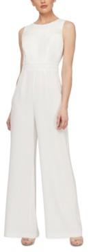 SL Fashions Sleeveless Eyelet-Trim Jumpsuit