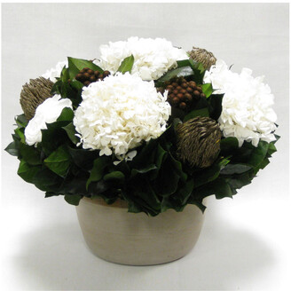Bougainvillea Roses, Banksia, Brunia, & Hydrangea In Small Round Wooden Container