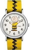 Timex Weekender Peanuts: Charlie Brown Watch, Nylon Slip-Thru Strap