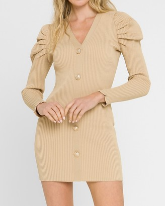 Express Endless Rose Long Sleeve Button Front Knit Mini Dress