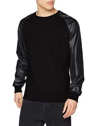 Urban Classic Men's Raglan Leather Imitation Crew Jumper, Schwarz Blk 00017, S