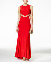 Betsy & Adam Mesh Cutout-Back Sleeveless Gown