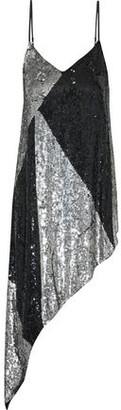 retrofete Stella Asymmetric Two-tone Sequined Chiffon Slip Dress