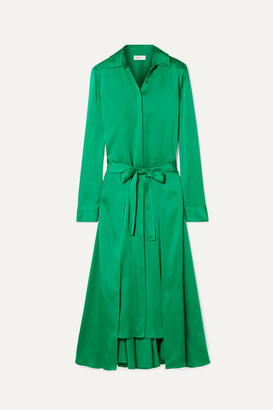 Rosetta Getty Apron Wrap-effect Satin Midi Dress - Emerald