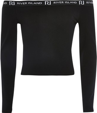 River Island Girls Black long sleeve bardot top