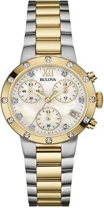Bulova Women's Swarovski Crystal Accented Mother of Pearl Two-Tone Bracelet Watch, 30mm
