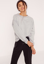 Missguided Brushed Back Deep Hem Sweatshirt Grey