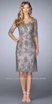 La Femme Illusion Applique Sheath Cocktail Dress