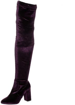 Aquazzura Purple Velvet So Me Over The Knee Boots Size 37.5