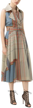 Akris Stripe Sleeveless Cotton Voile Dress