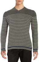 Black Brown 1826 Striped V-Neck Sweater