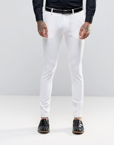 Asos Super Skinny Fit Suit Trousers In White