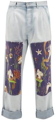 Loewe Paula's Ibiza - Mermaid-patch Cotton Straight-leg Jeans - Mens - Blue