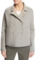 Loro Piana Leroy Reversible Plaid Mélange Flannel Double-Breasted Jacket, Beige