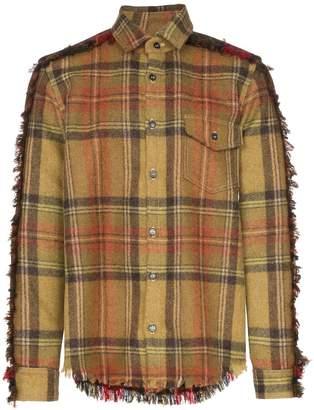 Nounion Tartan print wool fray detail shirt
