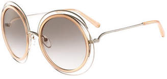 Chloé Carlina Trimmed Round Sunglasses