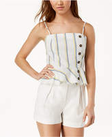 J.o.a. Striped Cotton Peplum Top