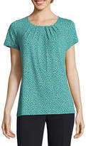 Liz Claiborne Pleat Neck Tee - Tall