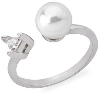 Majorica Faux Pearl & Crystal Sterling Silver Open Ring