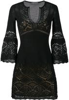 Alberta Ferretti crochet V-neck dress