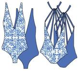 Nicolita Swimwear - Deep V Reversible One Piece Swimwear With Multi Strap Back In Mosaic/Blue