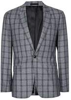 Topman Gray and Blue Check Skinny Fit Suit Jacket