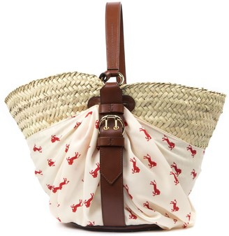 Chloé Bucket Bag In Straw And Brown Leather