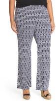 Vince Camuto Plus Size Women's 'Diamond Phrase' Print Stretch Knit Wide Leg Pants