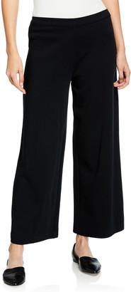 Joan Vass Petite Stretch-Interlock Wide-Leg Ankle Pants