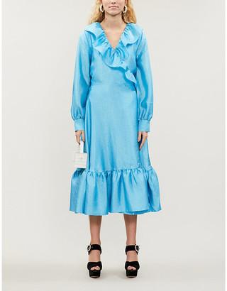 Stine Goya Steffi ruffled-trim metallic midi dress