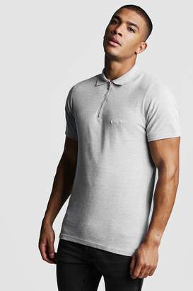 boohoo MAN Signature Pique Zip Placket Polo
