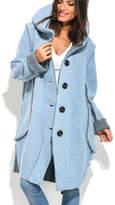Blue Hooded Wool-Blend Coat - Plus Too