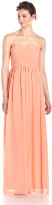 Donna Morgan Women's Stephanie Long Strapless Chiffon Dress