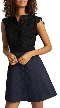 Reiss Hazel Fit and Flare Combo Dress