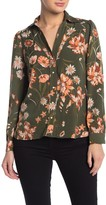 Amour Vert Current Air Floral Print Long Sleeve Blouse