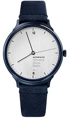 Mondaine Helvetica Stainless Steel Swiss-Quartz Watch with Leather Strap