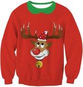 Wowforu Unsiex Ugly Christmas Pullover Sweater Crewneck X-mas Sweatshirts