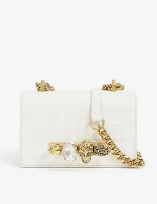 Alexander McQueen Skull and jewel-embellished leather satchel bag