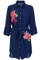 Quiz Navy And Pink Crepe Floral Embroidered Shirt Dress