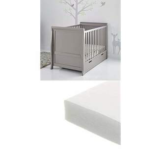 Obaby Stamford Sleigh Classic Cot Bed and Fibre Mattress - Taupe Grey