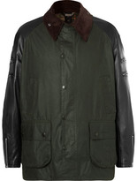 Junya Watanabe + Barbour Leather And Tweed-trimmed Waxed-cotton Jacket - Green