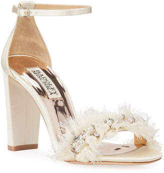 Badgley Mischka Fleur Embellished Satin Evening Sandals