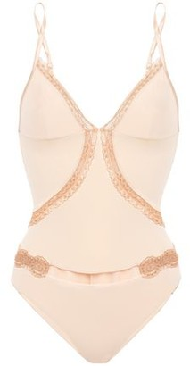 La Perla Lace-trimmed Stretch-tulle And Jersey Bodysuit